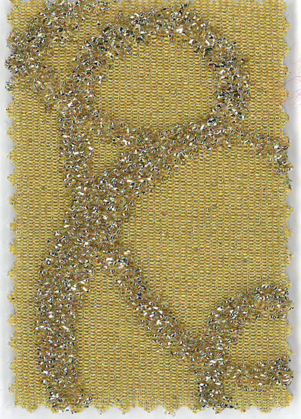 Delhi - col.2 galben stralucitor cu imprimeu auriu in relief